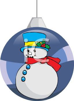 picture of a christmas tree decoration with a snowman painted on the side in a vector clip art illustration
