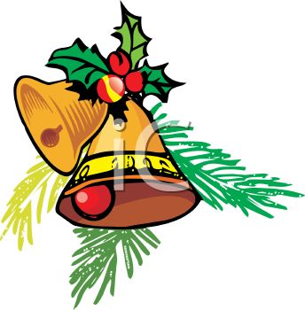 Christmas Bells Clipart.Picture Of Golden Christmas Bells With Holly Berries In A