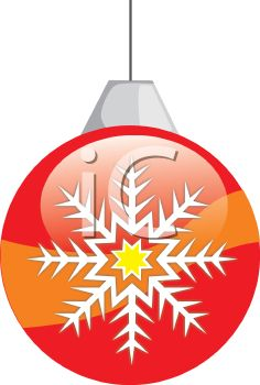 picture of a striped christmas decoration with a snowflake decorated on the side in a vector clip art illustration