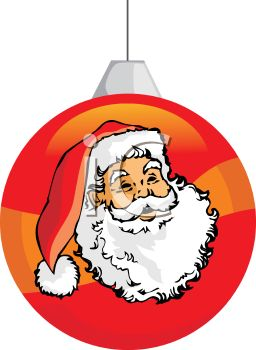 picture of a striped Christmas tree ornament with a santa face on the side in a vector clip art illustration