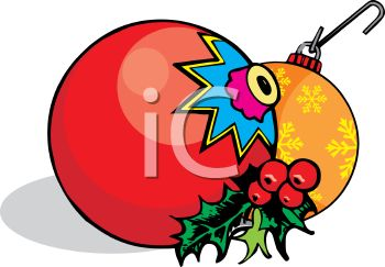 picture of christmas ornaments with holly berry in a vector clip art illustration