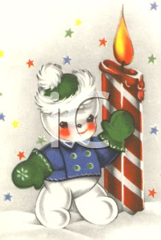 picture of a small smowman with rosey cheecks wearing a coat, gloves, and hat , standing by a striped candle on a Snowy background with stars in a vector clip art illustration