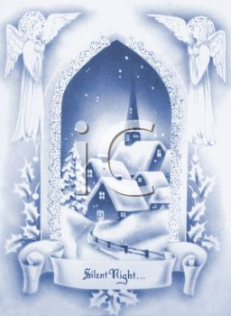 picture of a victorian christmas scene on a Christmas card with a silent night banner in a vector clip art illustration