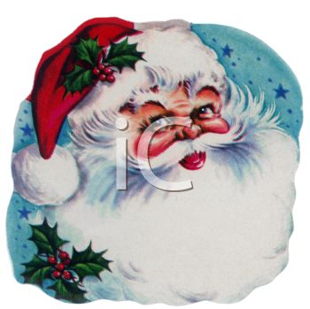 picture of a retro santa face on a blue starry background with holly berries in a vector clip art illustration