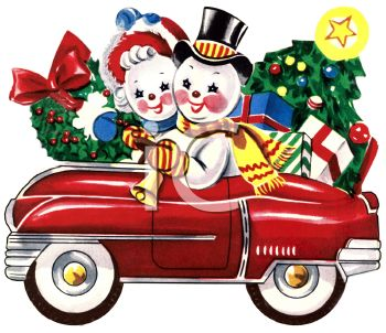 picture of an antique shiny red car with a mr and mrs snowman driving with a car full of christmas trees and gifts in a vector clip art illustration