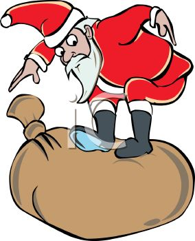 picture of a Santa Claus cartoon standing on a big bag of gifts in a vector clip art illustration