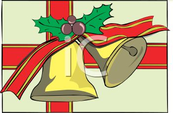 picture of a christmas gift wrapped in a box decorated with a picture of golden bells holly berries and red ribbon in a vector clip art illustration