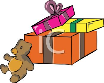 picture of christmas gifts wrapped in a box with a stuffed bear in a vector clip art illustration