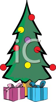 picture of a decorated christmas tree with wrapped gifts under the tree in a vector clip art illustration