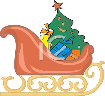 picture of  a cartoon sled full of wrapped gifts and a decorated tree in a vector clip art illustration