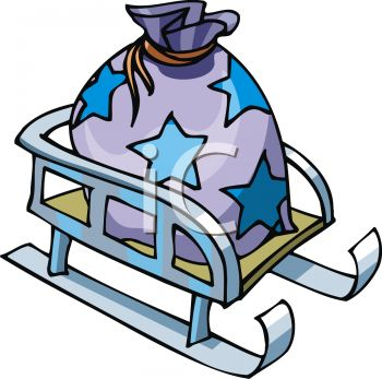 picture of a sled with a star printed bag of toys in a vector clip art illustration