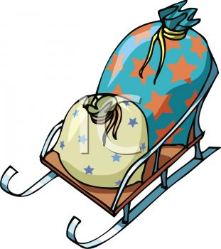 picture of a sleigh carrying two bag of star printed bags of gifts in a vector clip art illustration