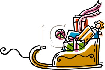 picture of a cartoon sleigh full of toys in a vector clip art illustration