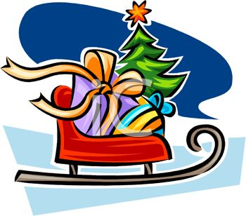 picture of a sleigh with a bag of toys and a tree in a vector clip art illustration