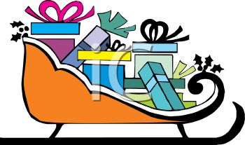picture of a sleigh full of wrapped gifts in a vector clip art illustration