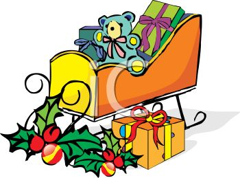 picture of a sleigh with wrapped gifts, a stuffed bear, and holly berries in a vector clip art illustration