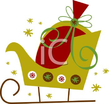 picture of a green decorated sleigh with a bag of gifts in a vector clip art illustration