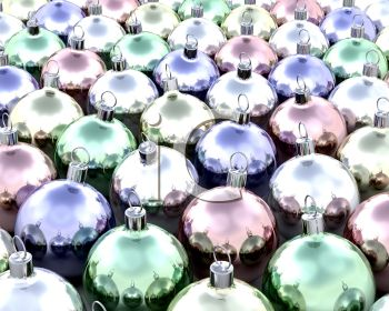 picture of colorful christmas ball ornaments in a vector clip art illustration