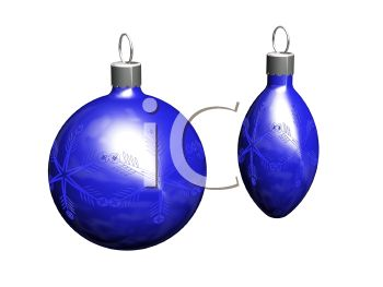 picture of blue christmas tree ornaments on a white background in a vector clip art illustration