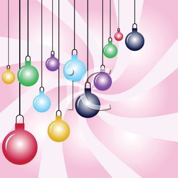 picture of an abstract background with colorful hanging christmas balls in a vector clip art illustration