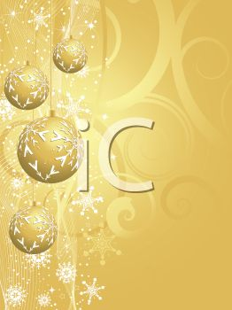 picture of a gold abstract background with golden christmas balls decorated with snow hanging in a vector clip art illustration