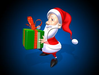 picture of a cartoon santa holding a gift in a green box with a red spotted bow in a vector clip art illustration