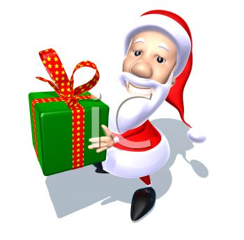picture of a cartoon santa holding a gift in a green box with a red bow with gold stars in a vector clip art illustration