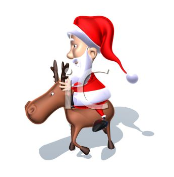 picture of a cartoon Santa riding on a cartoon reindeer in a vector clip art illustration