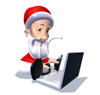 picture of a cartoon santa sitting down typing on a laptop computer in a vector clip art illustration