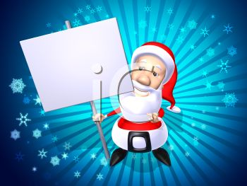picture of a cartoon santa on a blue background with snowflakes holding a blank sign in a vector clip art illustration