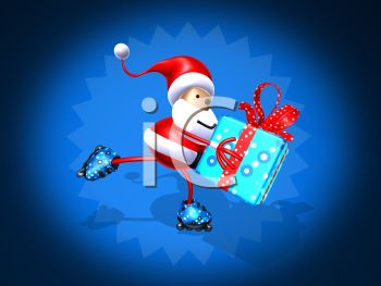 picture of a cartoon santa claus ice skating holding a gift in a vector clip art illustration