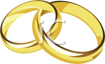 picture of a set of gold wedding band linked together in a vector clip art illustration