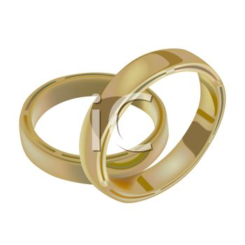 picture of two gold wedding bands in a vector clip art illustration