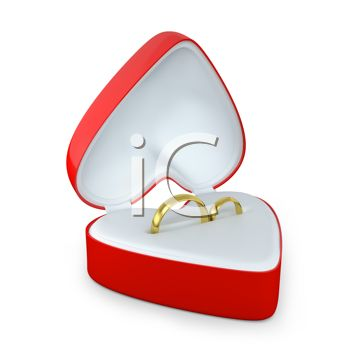 picture of two gold wedding rings inside of a heart shaped box in a vector clip art illustration