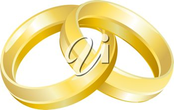 picture of two gold wedding rings on a white background linked together in a vector clip art illustration