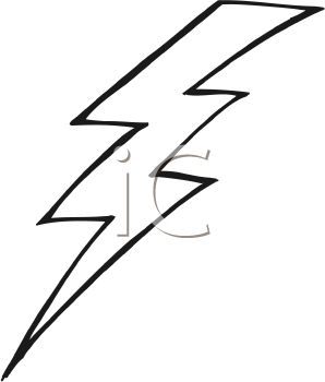 picture of a lightning bolt in black and white in a vector clip art illustration