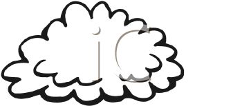 picture of a cloud in black and white in a vector clip art illustration