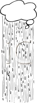 picture of a rain cloud pouring out rain in a vector clip art illustration