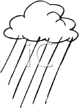picture of a rain cloud in black and white in a vector clip art illustration
