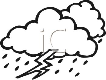 picture of rain clouds with a bolt of lightning in black and whtie in a vector clip art illustration