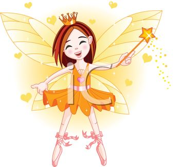 picture of a fairy ballerina holding a wand and standing on her tip toes in a vector clip art illustration