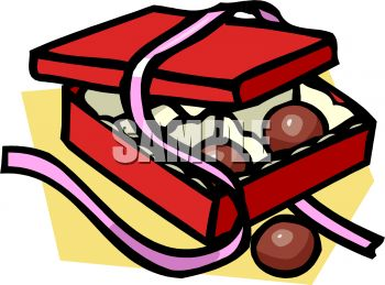 picture of an open box of chocolates with a pink ribbon in  a vector clip art illustration