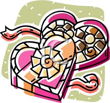 picture of a cartoon of an opened box of chocolates in a heart shaped box in a vector clip art illustration
