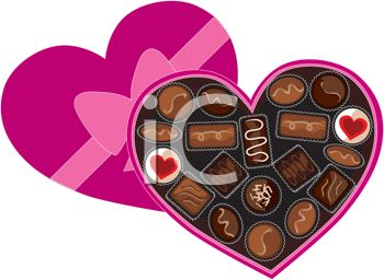 picture of a heart shaped box of assorted chocolates in a vector clip art illustration