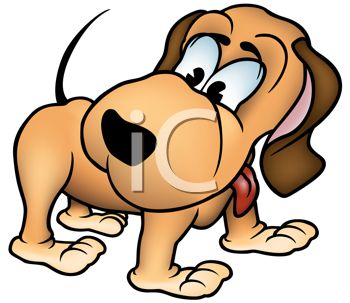 picture of a cartoon dog watching his tail in a vector clip art illustration