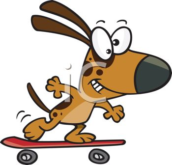 picture of a cartoon dog skateboarding in a vector clip art illustration