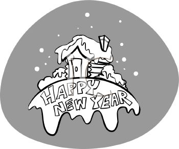 picture of a log cabin covered in snow with a happy new year banner in a vector clip art illustration