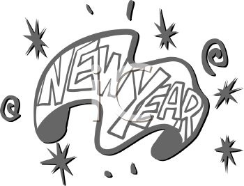 picture of a happy new year banner in a vector clip art illustration royalty free clipart illustration