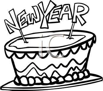 picture of a happy new years cake in a vector cli art illustration