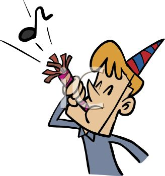 picture of a young boy blowing through a new years eve party favor in a vector clip art illustration